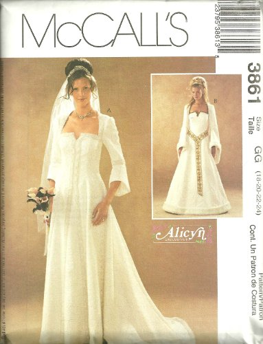 MCCALS PATTERN 3861 MISSES/MISS PETITE MEDIEVAL STYLE WEDDING LINED DRESSES SIZE GG 18-24
