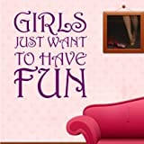 Sticker Bay Girls Just Want To Have Fun Wall Sticker Quote Art - Black