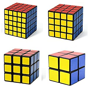 Black Cube Puzzle Bundle Pack,2x2x2,3x3x3,4x4x4,5x5x5 Set,YUYIKES Speed Cube Collection