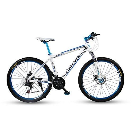 Umini 青 アルミニウム合金 自転車 シマノ 21 段変速 26インチ マウンテンバイク MTB フロントサスペンション シマノ21段変速 前後機械式ディスクブレーキ ライト