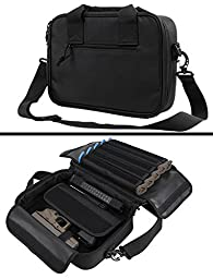 Smith & Wesson S&W 9mm .22 .357 Sig 38 Special .40 S&W .45 ACP GAP Dual Tactical Handgun Revolver Case Bag Holds 2 Pistols with 10 Single Double Stack Magazine Pockets and Carry Handle