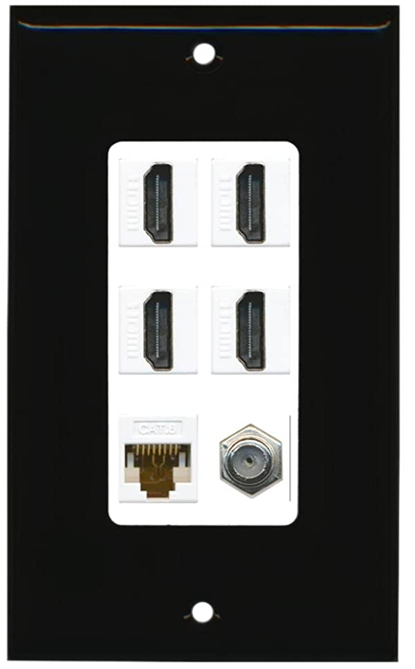RiteAV - 4 Port HDMI 1 Coax Cable TV- F-Type 1 Cat6 Ethernet Wall Plate Decorative - Black & White (Color: Black Surround with White Insert)