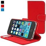 Snugg iPhone 5 / 5s Leder Hülle (Rot) - Flip Case mit lebenslanger Garantie + Kartenfächern & Standfunktion