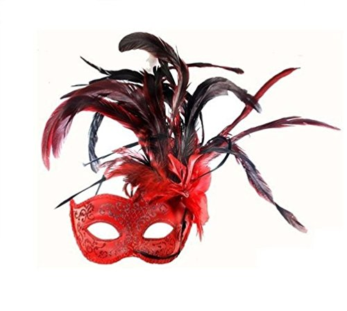 Mememall Red Wing Mask Spanish Black Feather Senorita Lady Costume Glitter (2)
