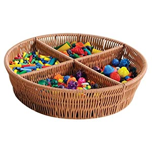 Round Rattan Divided Tray Home Storage Baskets Divided Trays Platters