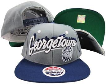 Buy Georgetown Hoyas Grey Navy Two Tone Plastic Snapback Adjustable Plastic Snap Back Hat Cap by Zephyr