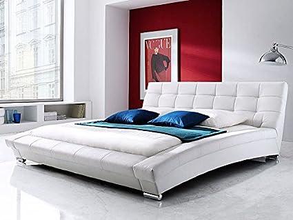 Expendio 44843685 Polsterbett, Lederimitat, weiß, 255 x 225 x 87 cm
