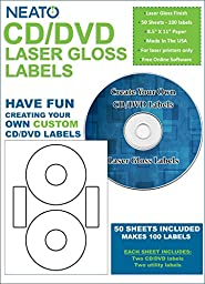 Neato - Laser Gloss CD/DVD Labels - 100 Pack - (50 Sheets, 100 Labels) - Online Design Studio Included