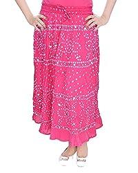 Soundarya Women's Cotton Long Skirt(RS3023, 38, Pink)