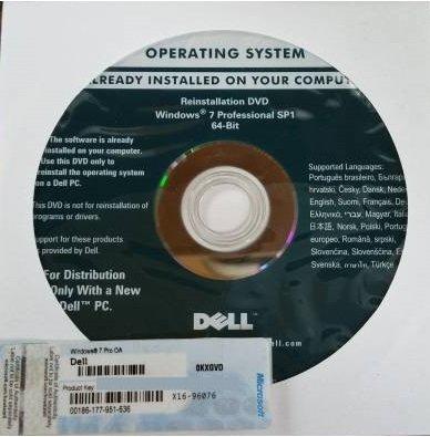 DELL Windows 7 Pro SP1 64bit DVD プロダクトキー付