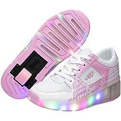 Kinder Junge Mädchen Led Heelys Schuhe Sneaker Mit Rollen 7 Farbe Farbwechsel Rosa 35