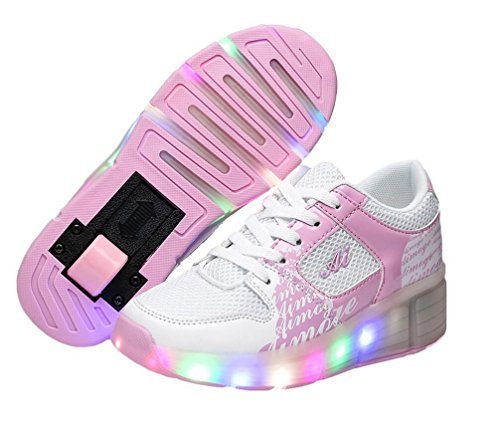 Led Shoes Bambini Scarpe Kinder Uomo Donna Heelys con Rotelle Forma per l'estate Rosa 33