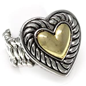 Two Tone Heart Stretch Fashion Ring