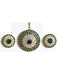 Green And White Stone Studded Round Shaped Pendant And Earrings - Stone And Metal