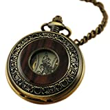 VIGOROSO Men's Vintage Wood Grain Hollow Selfwind Steampunk Chain Mechanical Pocket Watch Gift Box
