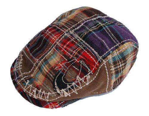 true religion multi plaid driving cap patchwork ivy scally flat hat tr962. Black Bedroom Furniture Sets. Home Design Ideas