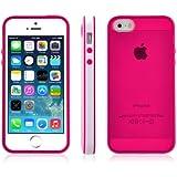SOOPER Hot Pink Transparent TPU Bumper Case Cover For iPhone 5S / 5 (Hot Pink)