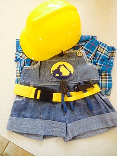 "NEW Construction Worker with Hard Hat Outfit Teddy Bear Clothes Fit 14"" - 18"" Build-a-bear, Vermont Teddy Bears, and Make Your Own Stuffed Animals"