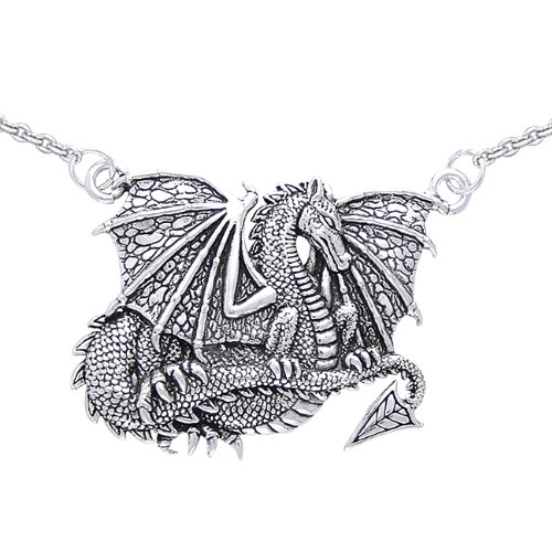 ".925 Sterling Silver Winged Dragon Mystery Legends Fairies Viking Norse Medal Pendant Necklace Comes With A Beautiful 20"" Silver Plated Snake Chain"