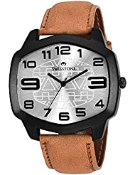 Swisstone GR109-SLV-TAN Silver Dial Tan Leather Strap Analog Wrist Watch For Men/Boys