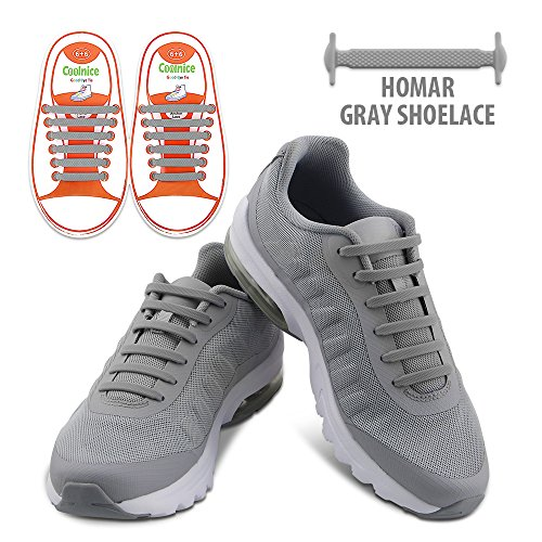 Homar Kids Shoe Laces No Tie Shoe Laces - Best in Alternative Shoelaces - Elastic Waterproof Dirtproof for Life Hackers, Kids, Elders, Handicap, Athletes - Grey (12 Alternatives To Time Out compare prices)