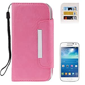 Crazy4Gadget Horizontal Flip Leather Case with Credit Card Slots & Lanyard for Samsung Galaxy S IV / i9500(Pink)
