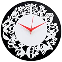 Panache Owl and Birds Aluminium Wall Clock (Black/White)