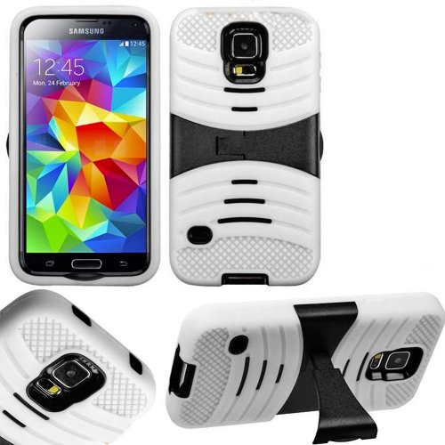 Mylife (Tm) Bright White And Black - Shockproof Survivor Series (Built In Kickstand + Easy Grip Ridges) 2 Piece + 2 Layer Case For New Galaxy S5 (5G) Smartphone By Samsung (Internal Flex Silicone Bumper Gel + Internal 2 Piece Rubberized Fitted Armor Prote