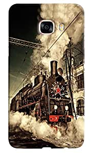 Omnam Steam Engine Train Printed Designer Back Cover Case For Samsung Galaxy C7