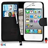 Apple iPhone 4 / 4S Premium Leather Portefeuille NOIR flip écran Housse Etui + Big tactile Stylet + Protecteur & Chiffon SVL2 PAR SHUKAN®, (portefeuille NOIR)