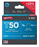 Arrow Fastener 506 Genuine T50 3/8-Inch Staples, 1,250-Pack