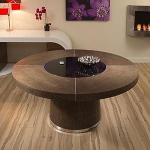 large elm dining table black glass lazy susan