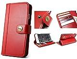 【 CIBOLA 】 ボタン式 高級牛革 iPhone SE ケース / iPhone 5s ケース / iPhone 5 ケース 手帳型 【 磁気カード でも安心利用 】【 専用箱 保存袋 クロス付 】 本革 カバー カード入れ スタンド機能付き アイフォン SE / 5s / 5 財布型 カバー レッド (iphone5/5S/SE, レッド)