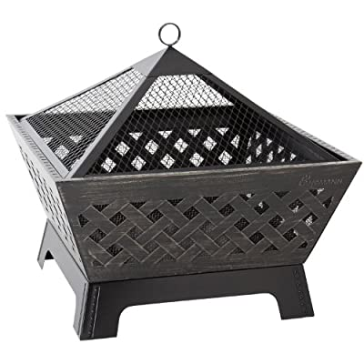 Landmann - Fire Pit - Outdoor Garden Heater - Cross Hatch Pattern - With Cover from Worldstores