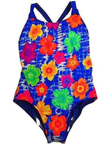 Beach Native - Big Girls' Plus 1 Piece Floral Swimsuit, Royal, Multi 35581-16.5Plus front-28513