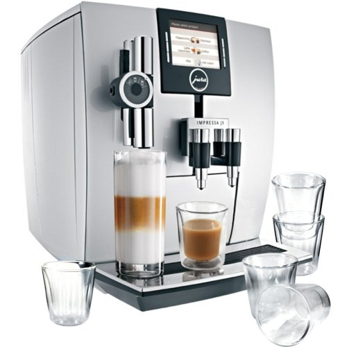 Jura Impressa J9 One Touch Automatic Coffee Center With 6 Piece Bodum Canteen Double Wall Espresso Glass Set
