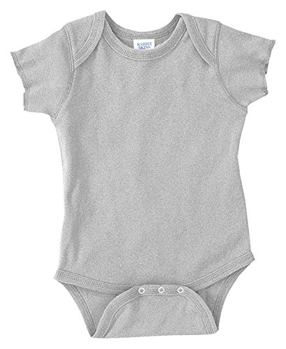 Rabbit Skins Infants'5 oz. Baby Rib Lap Shoulder Bodysuit, NB, HEATHER