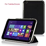 VSTN® Toshiba Encore WT8 (Windows 8.1) ultra-thin Smart Cover Case, Only fit Toshiba Encore WT8 windows 8.1 tablet (For Toshiba Encore WT8, Black)