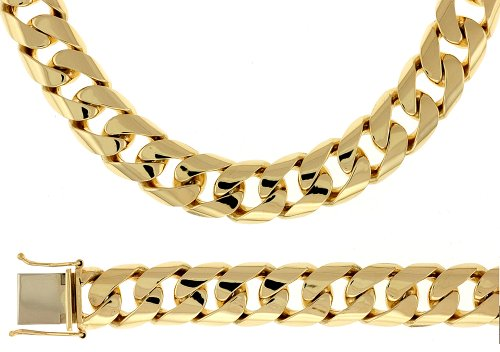 14k Yellow Gold 13.2mm Solid Link Curb Bracelet - 8.5 Inch - JewelryWeb