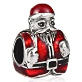 Father Christmas Charm Bead - 925 sterling silver Santa Claus Bead - fits most European bracelets including Pandora, Chamilia, Biagi - Ideal Christmas gift