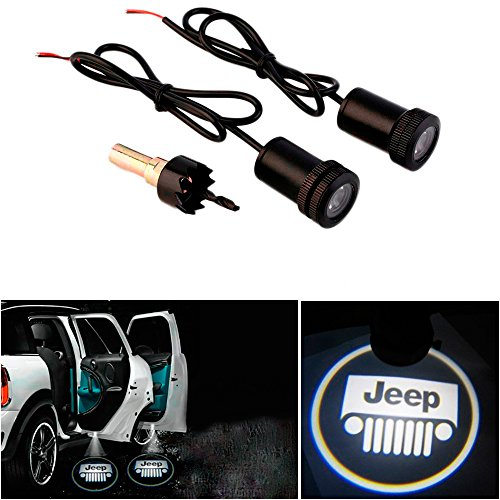 CHAMPLED® For JEEP Laser Projector Logo Illuminated Emblem Under Door Step courtesy Light Lighting symbol sign badge LED Glow Car Auto Performance Tuning Accessory (Jeep Emblem Light compare prices)