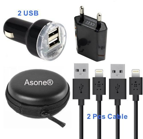 Asone-5-in-1-Kopfhrer-Kabel-Hard-Case-Bag-Kopfhrer-Ladegert-Kfz-Ladegert-1m-Lnge-USB-Sync-Daten-Ladekabel-fr-iPhone-5-5C-5S-iPad-Mini-iPod-Touch-der-5-Generation