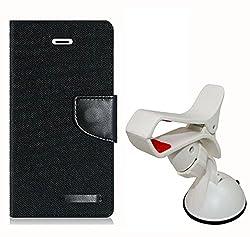 Aart Fancy Wallet Dairy Jeans Flip Case Cover for Apple6G (Black) + Mobile Holder Mount Bracket Holder Stand 360 Degree Rotating (Black) by Aart Store