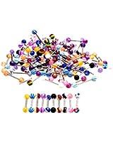 100 x Piercings pour la langue de 20mm, couleurs variées et funky par KurtzyTM TM