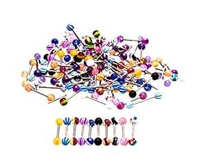 50 x Piercings pour la langue de 20mm, couleurs variées par KurtzyTM TM