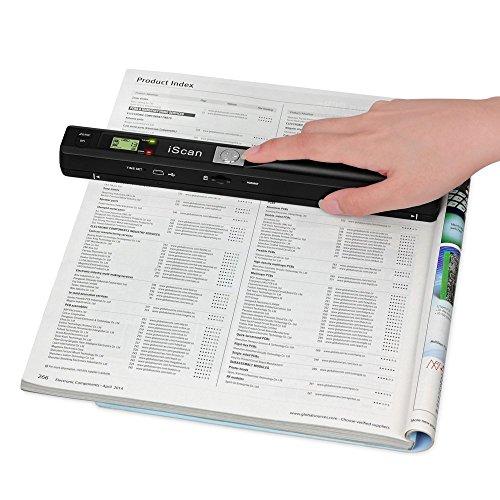 E-Bestar studente universitario a mano mini portable LCD scanner foto documento libro (Nero)
