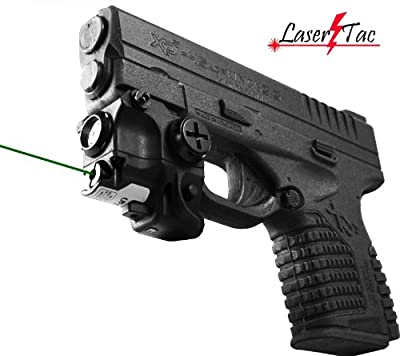 Lasertac Rechargeable Subcompact Green Laser Sight Light Combo for Springfield XD XD-S XDM S&W M&P Beretta PX-4 Taurus Millenium Walther PPQ PPS PPX PK380 Ruger SR9C Sig Sauer Glock from Lasertac