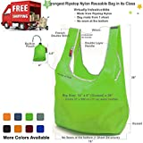 EcoJeannie Super Strong Ripstop Nylon Foldable Reusable Bag Grocery Shopping Tote Bag with Built-in Pouch, RB0003 (Green)