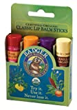 Badger Classic Lip Balm Sticks Green Set 4 Different Lip Balms USDA Organic