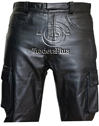 Mens Jeans Style Combat Leather Trouser (34)
